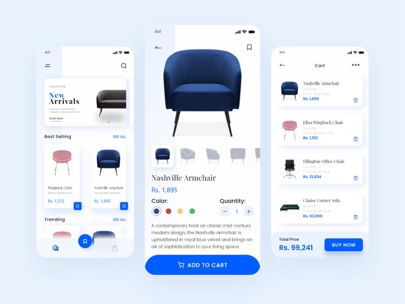 Furniture App Design sofa shopping app cart add to cart furniture ui furniture app ui design ux ui app ui design app