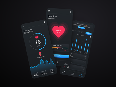 Heart Rate Monitor & Pedometer App typography mobileui app uidesign ui  ux design ux ui heartbeat app design health tracker monitor app heart app bpm app heart rate app