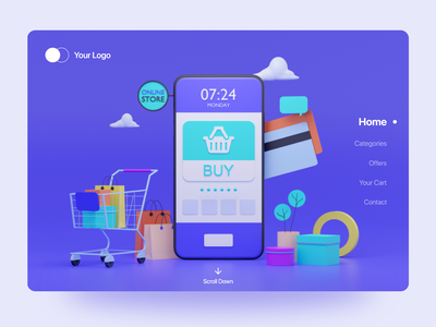 Online Shopping Landing Page Design typography ui  ux design ui ux landing page concept online website ui online shopping website builder web ui landing page ui landing page design webdesign website design landing page 3d illustration 3d art