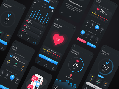 Heart Rate Monitor & Pedometer App illustration typography mobileui app uidesign ui  ux design ux ui app design heart rate heart rate monitor heart rate app