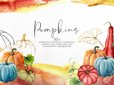 Pumpkins. Watercolor bundle