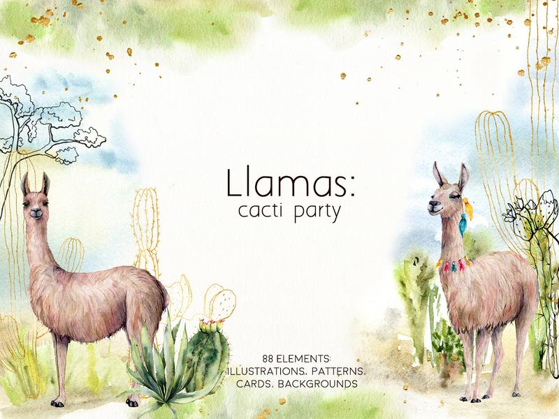 Llamas: cacti party. Watercolor