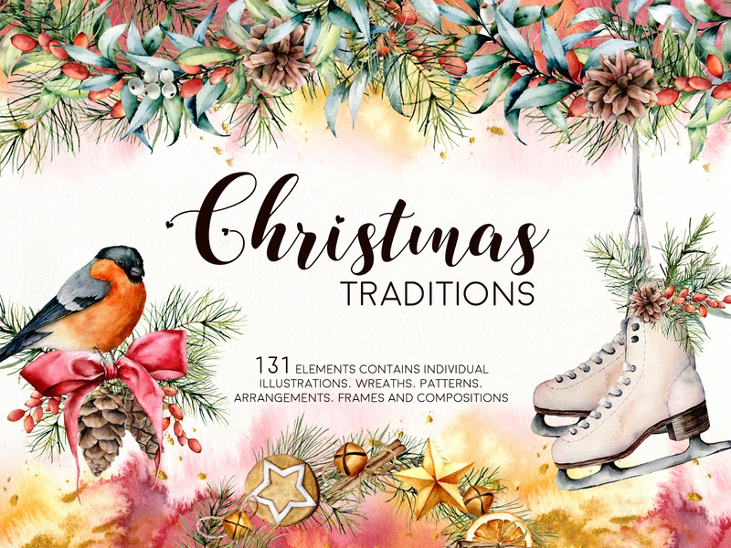 Christmas traditions. Watercolor collection
