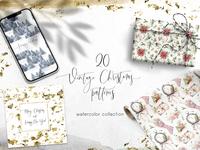 20 Vintage Christmas patterns. Watercolor bundle