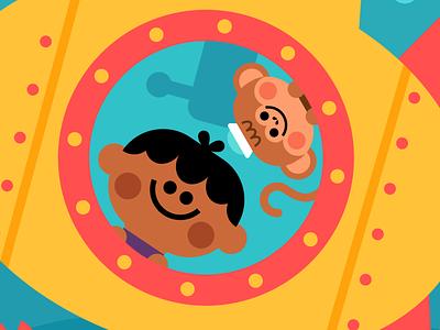 Submarine Adventure adventure friends fish underwater crab yellow monkey submarine flatdesign design kidlitillustration adobe illustrator kidlit kidlitartist kidlitart illustration vector