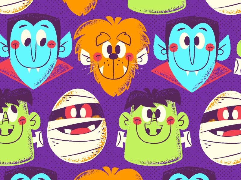 Halloween Pattern kidlitart kidlit mummy wolfman frankenstein dracula illustrator vector pattern halloween