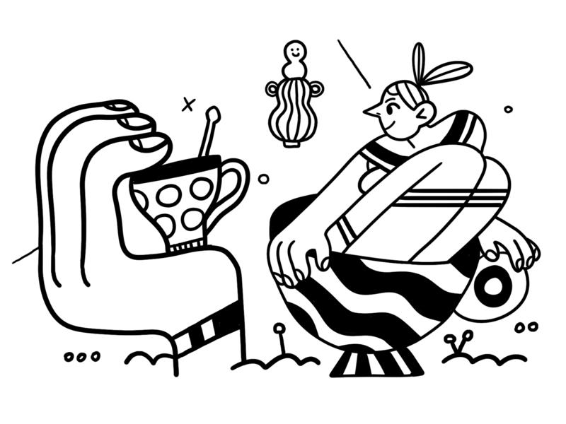 Art-Ovrag character illustration black  white linework