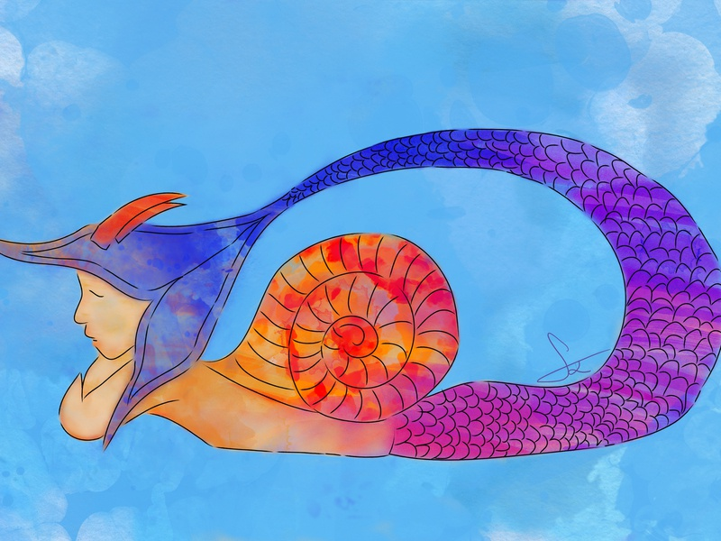 Animal in me hellodribbble shot dribbble tones purple pink orange blue watercolor goat snail mermaid world imagination drawing colorful digital painting digital art illustration art illustration