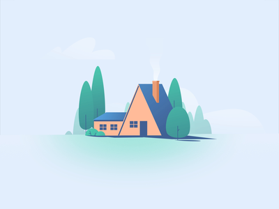 fake 3D House download free perspective forest home tree smoke motion graphic simple design loop illustration gif animation after effect shape house 3d fake