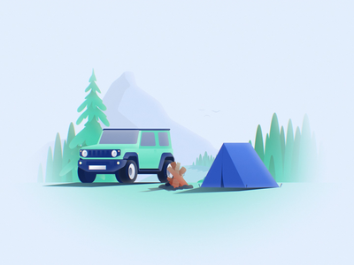 Campfire Day/Night tree landscape hunangsx hunangsx transition tent suzuki jimny forest shapes 3d fake loop aniamtion after effects night day fire car camping