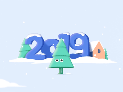 Christmas tree fun new year snow mascot christmas tree tree winter 2019 2020 illustration character after effects gif animation christmas