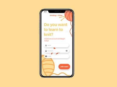Daily UI 01 app ui design knitting userinterface signup dailyui