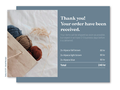 Daily UI 017 - Email Receipt receipt illustrator userinterface ui dailyui