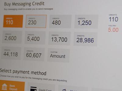 Buy Credits minimalist metro selection