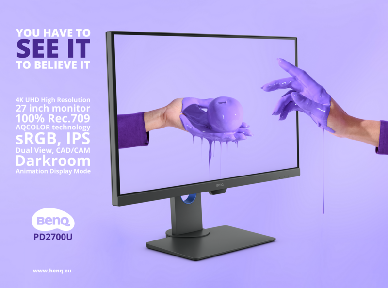 BenQ Monitor design typography purple benq branding brand digital advertisement advert