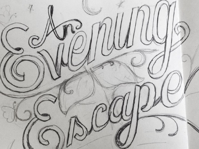 Evening Escape  illustration typography branding