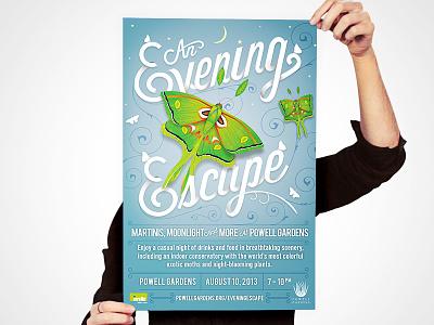 Evening Escape // Poster illustration typography branding design