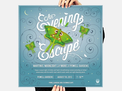 Powell Gardens // Poster #1 illustration typography graphic design branding