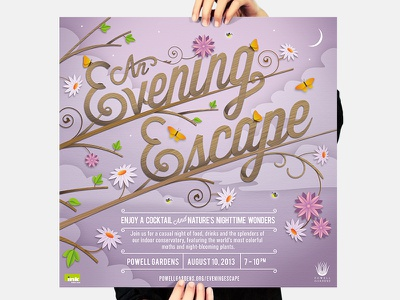 Powell Gardens // Poster #2 illustration typography graphic design branding