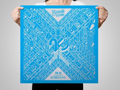 Sterling Sessions Poster anniversary conference kc vml branding illustration graphic design wall art poster design