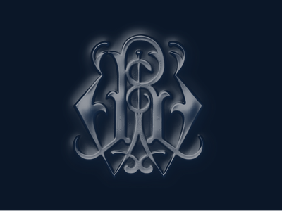 Monogram Embossed Navy W.A.R. typography monogram dribbleweeklywarmup
