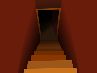 What's in the Basement? creepy waiting down stairs red dark eyes basement spooky dribbleweeklywarmup