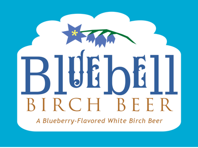 Bluebell Birch Beer Label design logo branding florals blueberry birch bell blue drink beer soda label