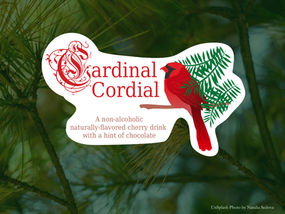 Cardinal Cordial Label business cardinal beverage drink branding graphic illustration logo design