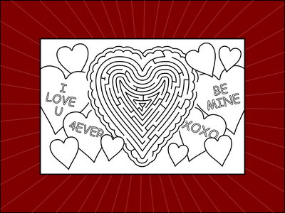Valentine Heart Maze Postcard activity kids maze postcard hearts conversation valentine heart design graphic dribbleweeklywarmup