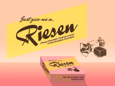 Riesen Chocolate Caramels pink riesen packaging candy caramel chocolate retro vintage package typography design graphic dribbleweeklywarmup