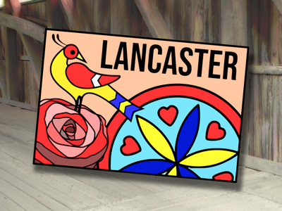 Lancaster, Pennsylvania Postcard design city folk art amish dutch country german sign red rose hex pennsylvania lancaster postcard dribbleweeklywarmup