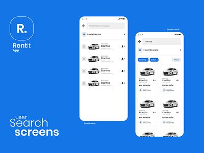 car renting app concept - Rentit car rent rental rent car ios mobile clean app flat design ux ui