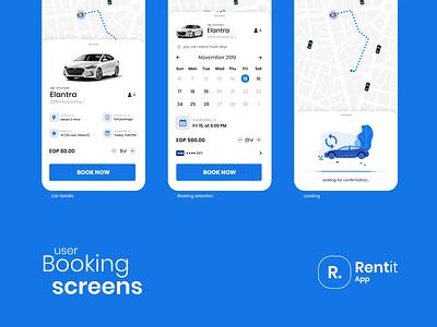 car renting app concept - Rentit ios vector rental rent car rent car clean app flat design ux ui
