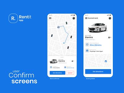 car renting app car rent car rental rent ios mobile clean app flat design ux ui