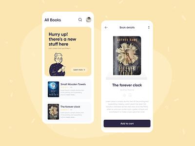 Book shop App concept learn book reading ios art mobile clean app flat design ux ui