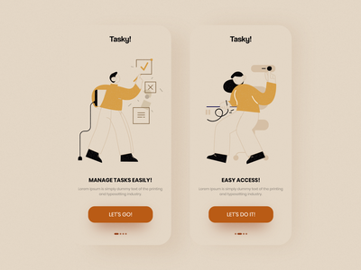 Tasky! - free UI Kit free onboarding vectorart vector illustration art ios mobile clean app flat design ux ui