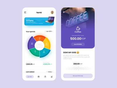 Spendy - Expense management app expenses budget salary product purchase manage illustration spend money mobile clean app flat design ux ui