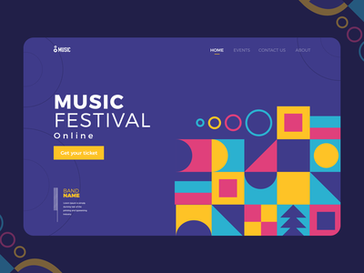 Music fest - landing page geometric abstract landingpage branding vector website minimal web flat app icon ux ui design illustration