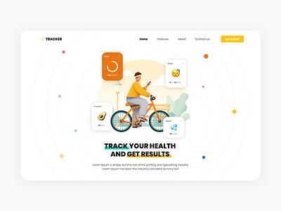 Tracker - Fitness app fitness app fitness fit animation illustration web mobile clean app flat design ux ui