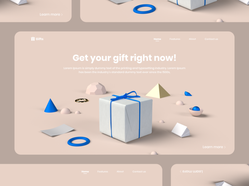 Gifts art illustration web landing vector 3d art 3d app flat design ux ui