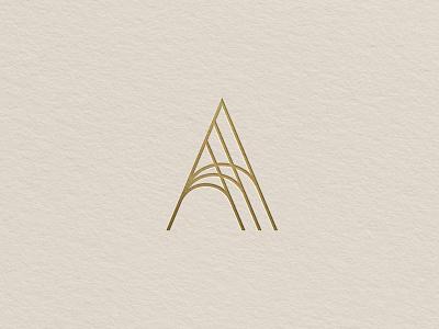 A Mark deboss gold foil brandmark logo letterform letter a