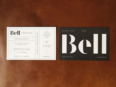 hot off the press identity design visual identity bell cabinetry matchstic stencil neenah print design branding brand identity