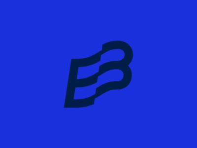Wavy B WIP letter b wavy wave typography blue brandmark logo b flag