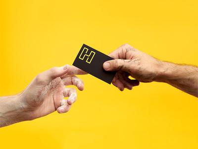 Humrun buisness card styling yellow monoline letterform h logo restaurant