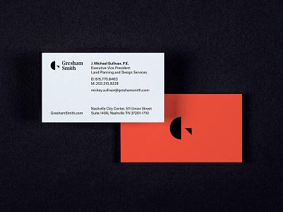 Gresham Smith rebrand nashville matchstic architecture letter g letterform logo branding businesscards