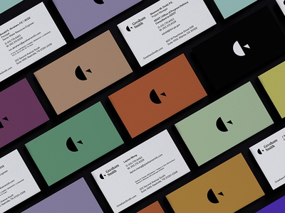 Colorful Cards noe display identity design architecture multicolor color palette letterform letter g g logo stationery business cards