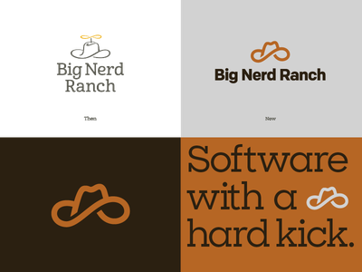 Big Nerd Ranch refresh development agency rebrand brandmark coding sharp slab brown clay matchstic atlanta big nerd ranch cowboy hat