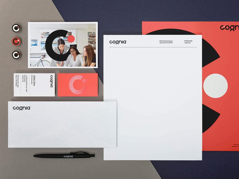 Cognia logo identity design stationery education school letter c dial