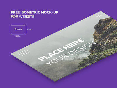 Free isometric mock-up for website | 1280x720px psd freebie screen 3d perspective site web mockup mock up isometric free