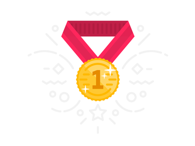 1st place medal prize first gold award illustration icon flat medal place win